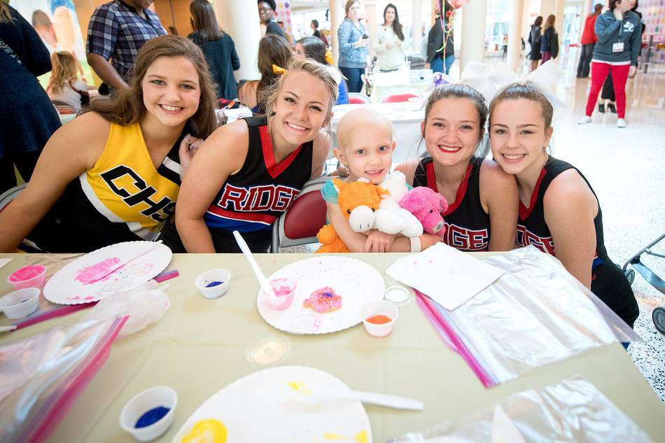 Some of the cheerleaders and dancers who raised funds as part of the Team Up for St. Jude program.