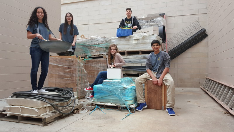 """Grand Prize winners, the """"Second Chance Band"""" from Lebanon Trail High School in Frisco, Texas, made an impact on their community and worldwide with a unique upcycling project using trash and other discarded objects to create instruments. The team's focus was to educate the community of landfill stress and demonstrate the value for trash through a culture of upcycling and re-purposing."""