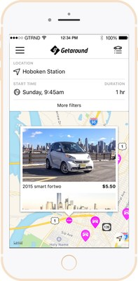 Getaround shows you cars nearby that are available to rent by the hour.