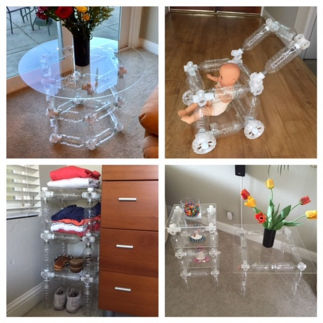 Examples of tables, toys and storage units made with the Eco Connect Bottle System