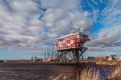 Ketel One are going to celebrate King's Day - the biggest party in our Dutch calendar and one of Europe's biggest celebrations - by taking over this iconic offshore platform with breath-taking views and transforming it into an extraordinary and unexpected residence during the festivities - the Ketel One Huis. (PRNewsFoto/Ketel One Vodka)