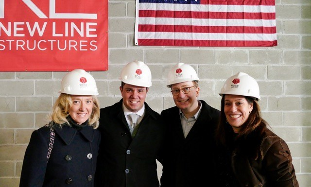 (Left to Right) Elizabeth Friedland Meyer, Rick Friedland, William Friedland and Amy Rose attend the topping out ceremony at 228 West 80th Street.
