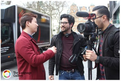 The Language Gallery production team and Korean Billy filming in Leicester Square (PRNewsFoto/The Language Gallery (TLG))