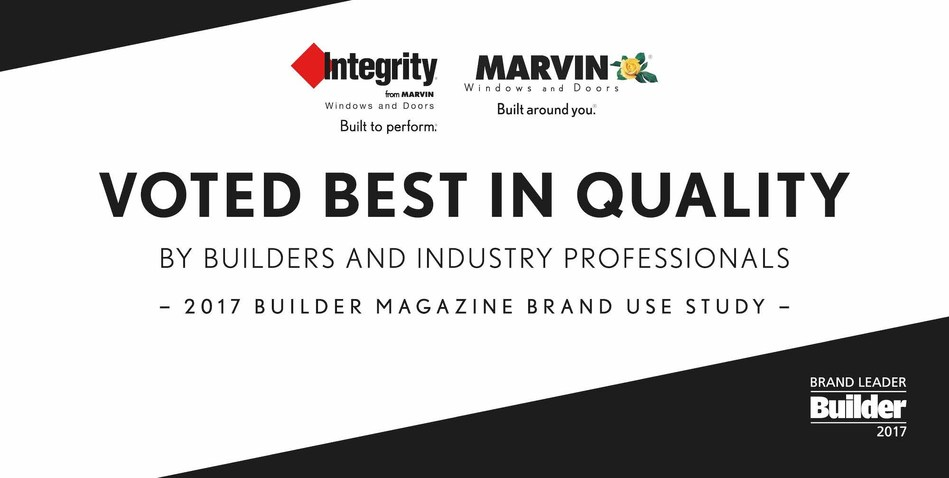 Marvin Windows and Doors and Integrity Windows and Doors  Recognized as Top Brands in 2017 BUILDER Brand Use Study