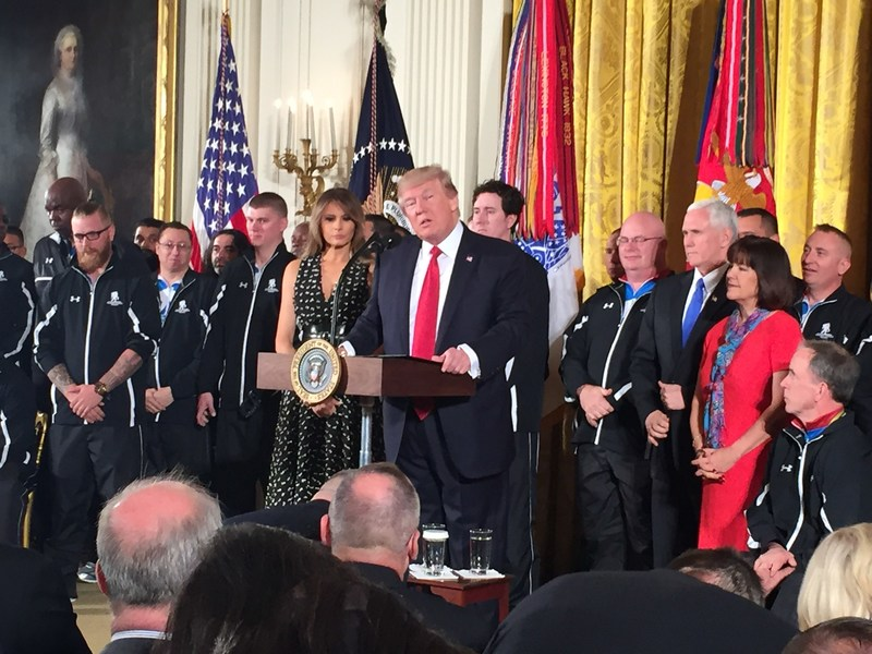 """""""You've risked all that you have, all that you possess to keep our people safe and our democracy secure, and we're going to keep it going for a long time in your honor,"""" President Donald Trump said while addressing veterans at the White House today for Soldier Ride. """"You've earned our freedom with your sweat and your blood and your incredible sacrifice. We salute you. We salute your service."""""""