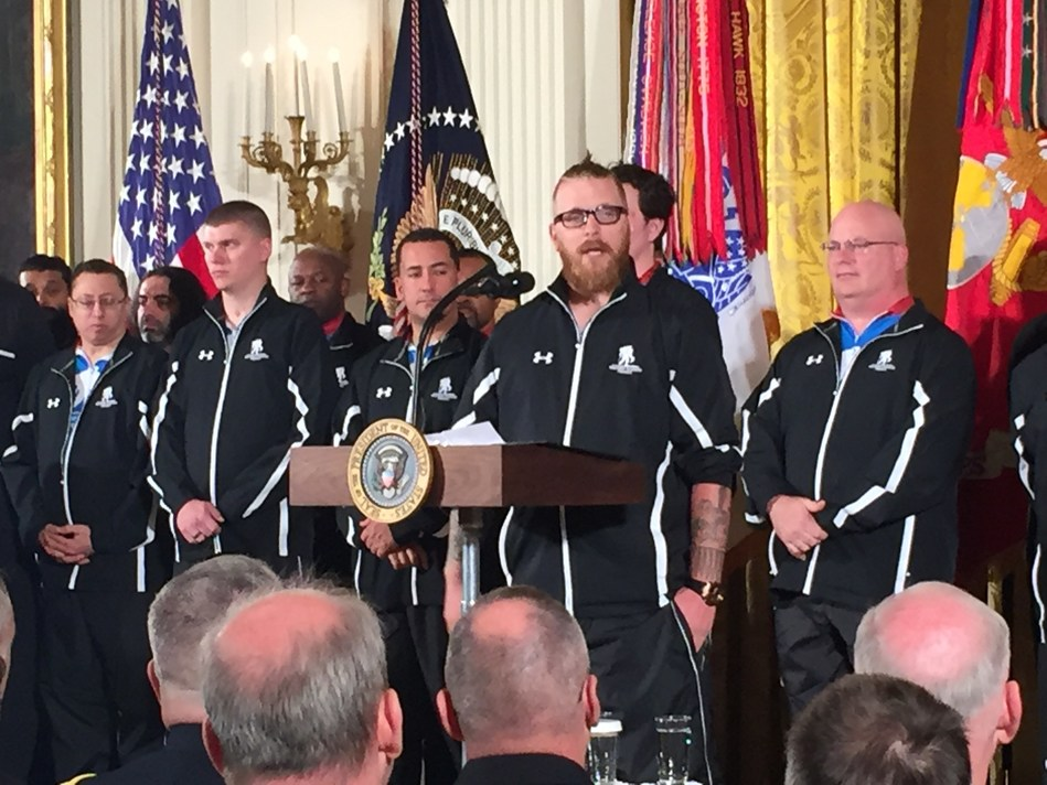 Wounded Warrior Project's Deven Schei speaks at the White House, talking about the impact of Soldier Ride.