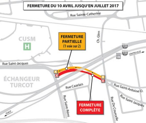 Projet Turcot à Montréal - MODIFICATION - Entraves sur la rue Saint-Jacques à compter du 10 avril 2017 (Groupe CNW/Ministère des Transports, de la Mobilité durable et de l'Électrification des transports)