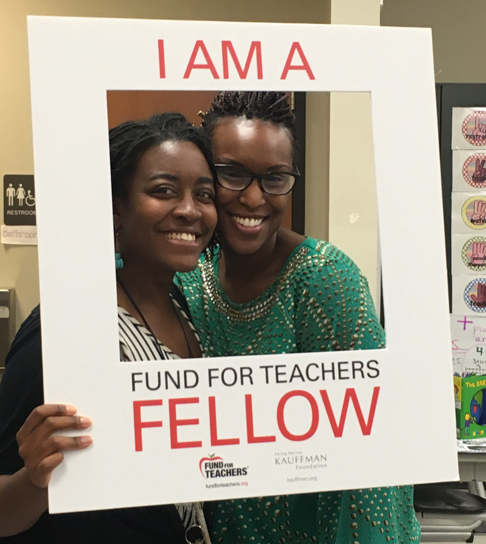 Elise Kwenin & Bethany Brown being told their Fund for Teachers proposal is funded. This summer they will tour renown European monuments and museums dedicated to early mathematicians to create introductory videos that demonstrate real-life applications of math for 4th and 5th grade students.