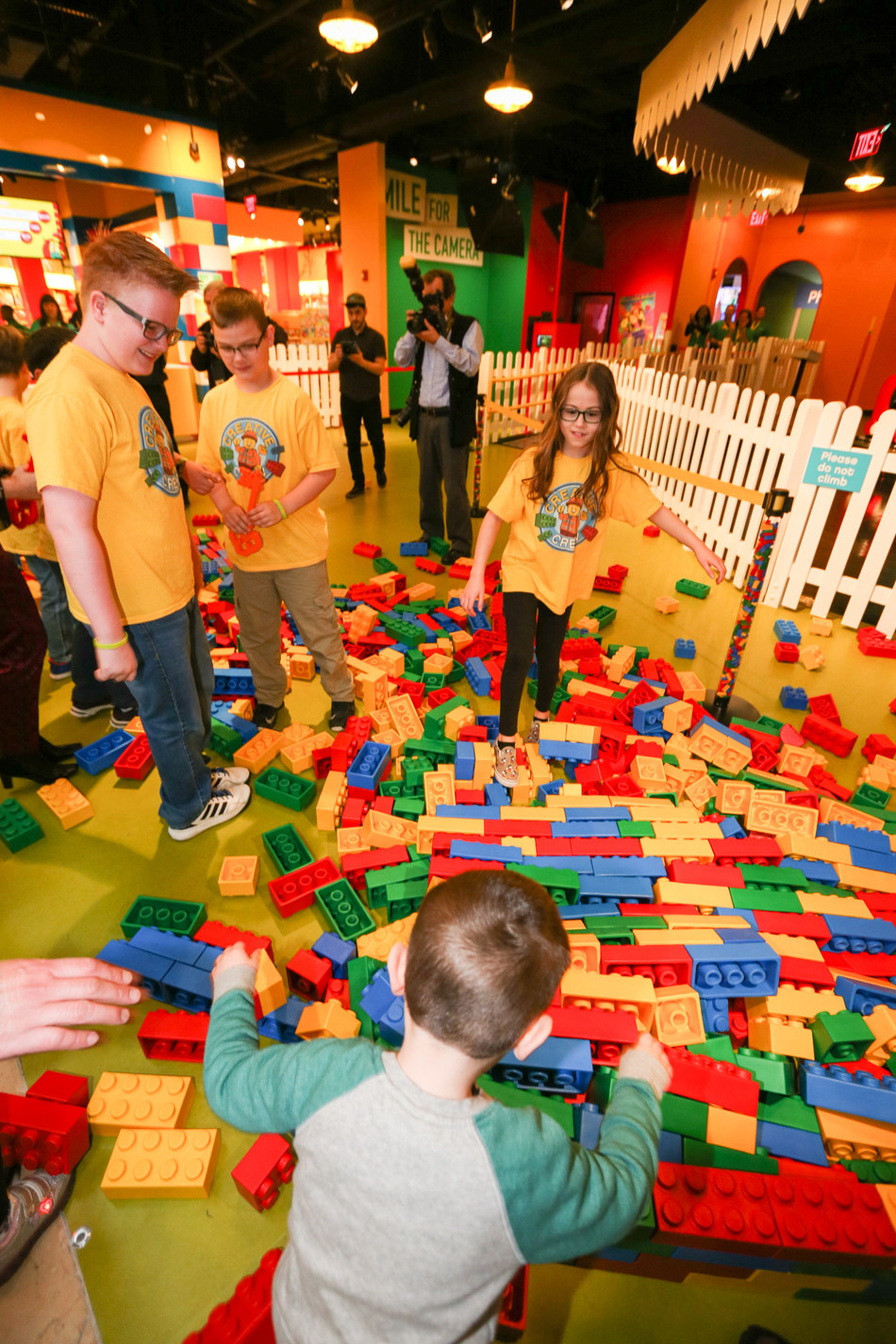 The Creative Crew breaks down the LEGO(R) wall to the only ultimate indoor LEGO(R) playground in Pennsylvania, located at Plymouth Meeting Mall.