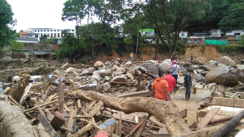 Devastation in the town of Mocoa, Colombia, taken the morning after landslides and flooding. Direct Relief is responding to this region of Colombia with critical medical aid and supplies.(Photo courtesy of La Patrulla Aerea Colombiana)