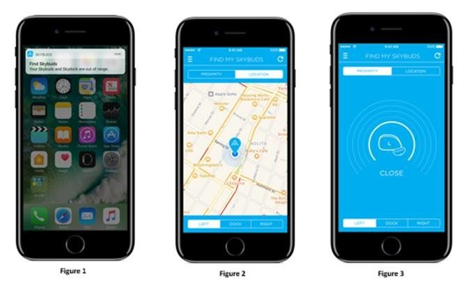 From Left to Right: Find My Skybuds Push Notification, Location-Based Finder, Proximity Finder