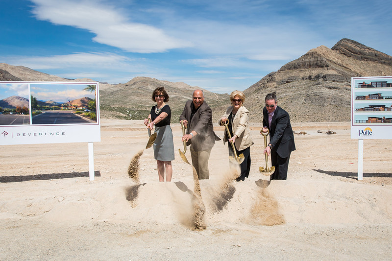 From left: Peggy Chandler, Senior Vice President, Summerlin, The Howard Hughes Corporation; Councilman Stavros Anthony, city of Las Vegas, Ward 4; Mayor Carolyn G. Goodman, city of Las Vegas; and Ryan Breen, Division President, PulteGroup; broke ground on April 6 on a 16,000-square-foot indoor/outdoor recreational center in Reverence, a new 300-acre village in the master-planned community of Summerlin, a development of The Howard Hughes Corporation in Las Vegas, Nevada.