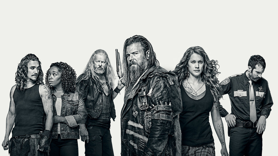 """(L-R) Kyle Gallner as Hasil, Christina Jackson as Sally-Ann, David Morse as Big Foster, Ryan Hurst as Lil Foster, Gillian Alexy as G'Winveer, and Thomas M. Wright as Sheriff Houghton in WGN America's """"Outsiders."""""""