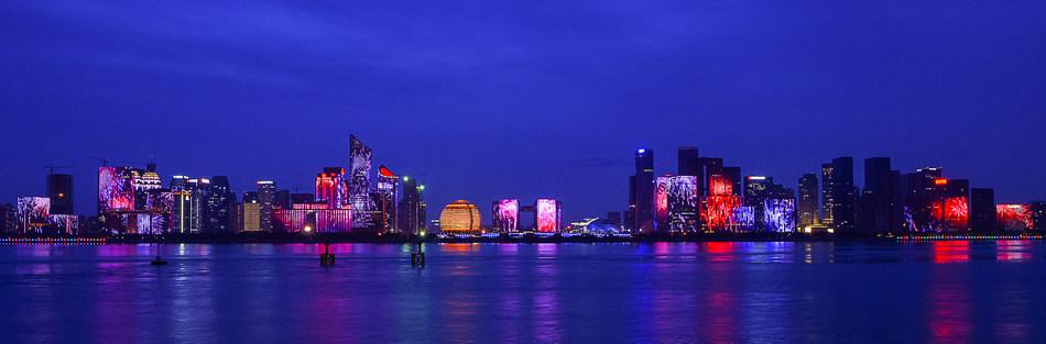 The night scene of Hangzhou CBD