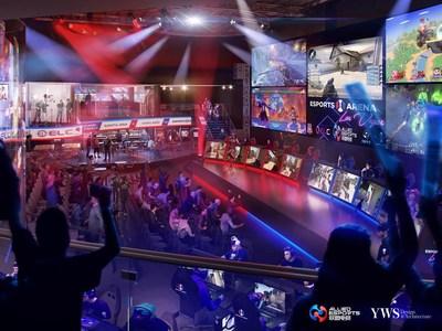 """卢克索赌场酒店内新的""""Esports Arena Las Vegas""""的效果图,""""Esports Arena Las Vegas""""是拉斯维加斯大道上首个专门的电竞竞赛场,将于2018年初开业"""