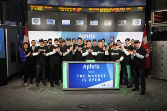 Vic Neufeld, Chief Executive Officer, Aphria Inc. (APH), joined Shaun McIver, Chief Client Officer, Equity Capital Markets, TMX Group, to open the market. Located in Leamington, Ontario, Aphria Inc., is a Health Canada Licensed Producer of medical cannabis.  Aphria provides pharma-grade medical cannabis and patient care while balancing patient economics and returns to shareholders.  Aphria Inc. graduated from TSX Venture Exchange and commenced trading on Toronto Stock Exchange on March 22, 2017. (CNW Group/TMX Group Limited)