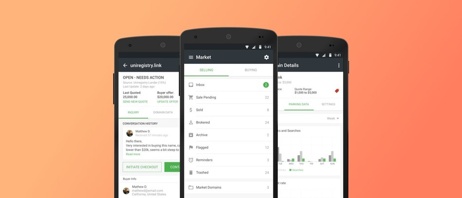 Buy, manage and sell valuable domain names with ease on Android devices.