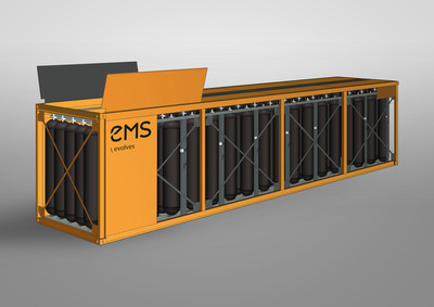 The EMS storage solution will be designed to store more than 1000 kg of hydrogen (H2) at a nominal working pressure of 500 bar. (PRNewsfoto/EMS)