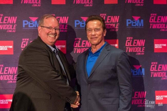 Public speaker Joe Libby shared the platform with Arnold Schwarzenegger at the Total Success Summit in Sydney, Australia.
