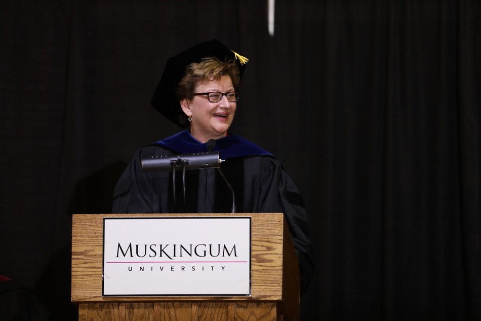 Dr. Susan S. Hasseler gives her inaugural address on Friday afternoon. Muskingum University's campus community, trustees, alumni and distinguished guests gathered to formally install Dr. Hasseler as the University's 21st president.