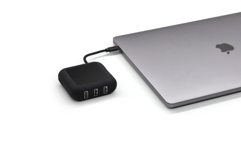 Powerup Black Version, a USB Type C fast charger with 3 USB Type A hubs designed especially for the Macbook Pro