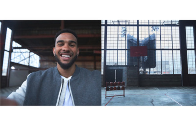 """Joseph introduced this innovative new style of selfie, the """"twofie,"""" with the world premiere of a video on April 7 on the Videoboard during the final Toronto Raptors regular season home game. (CNW Group/LG Electronics Canada)"""
