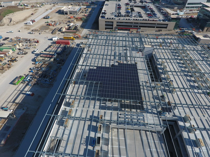 Installation of an 8.79-megawatt SunPower solar energy system is underway at Toyota Motor North America's new headquarters in Plano, Texas. Image courtesy of Axium Solar.