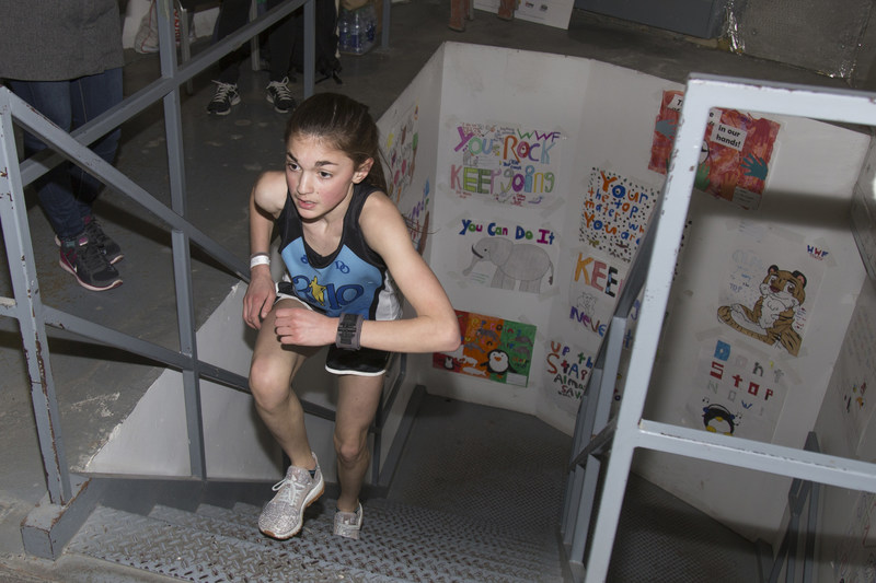 Aysia Maurice, 12, of Bolton, Ontario, at the finish line of WWF-Canada's CN Tower Climb for Nature on Sunday April 9, 2017. Her time of 12 minutes and 53.4 seconds was the fastest of any female in yesterday's climb. Credit: James Carpenter/WWF-Canada (CNW Group/WWF-Canada)