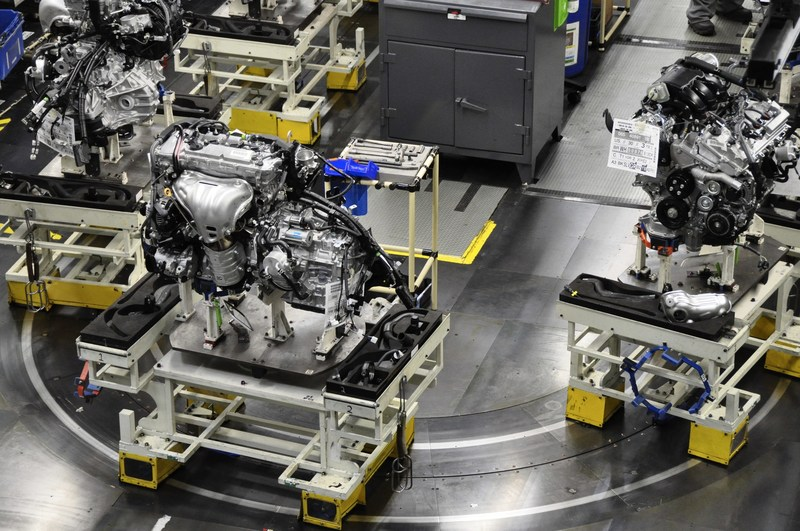 Engines move along the engine sub-assembly line at Toyota Motor Manufacturing, Kentucky, Inc. (TMMK) in Georgetown. Toyota's record $1.33 billion investment for the Reborn project will give the 30-year old plant a major overhaul.