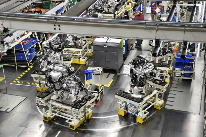 An engine sub-assembly line at Toyota Motor Manufacturing, Kentucky, Inc. (TMMK). On April 10, 2017, Toyota announced the Reborn project - a record $1.33 billion overhaul - of the Georgetown plant.