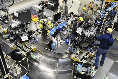 Team members at Toyota Motor Manufacturing, Kentucky, Inc. (TMMK) work on the engine sub-assembly line. Toyota's record $1.33 billion investment will introduce Toyota New Global Architecture and other next generation improvements that will position the plant for long-term success.