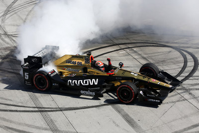 James Hinchcliffe celebrates his victory Sunday at the Grand Prix of Long Beach.