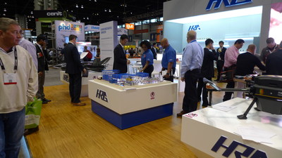HRG showcasing its Lithium Battery Smart Factory model to visitors