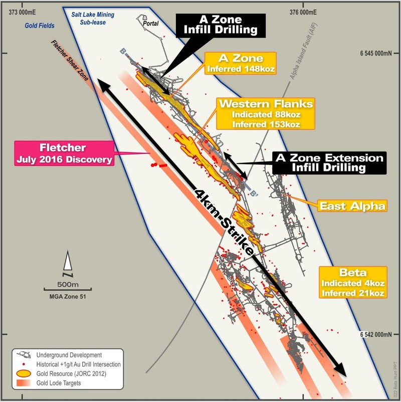 Figure 1: Plan view of Beta Hunt Mine highlighting location of recent infill drill results. (CNW Group/RNC Minerals)