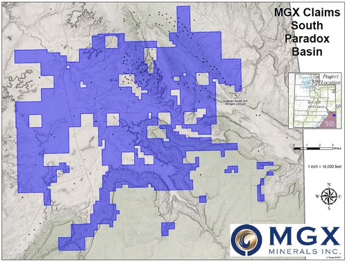 Figure 1. MGX Minerals' Cumulative Lisbon Valley Mineral Claims (CNW Group/MGX Minerals Inc.)