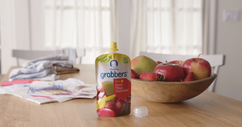 Gerber Introduces Smart Flow Spout Across Organic and Grabbers Pouches