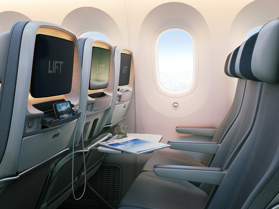 The newly launched Boeing 787 Dreamliner Tourist Class Seating by LIFT