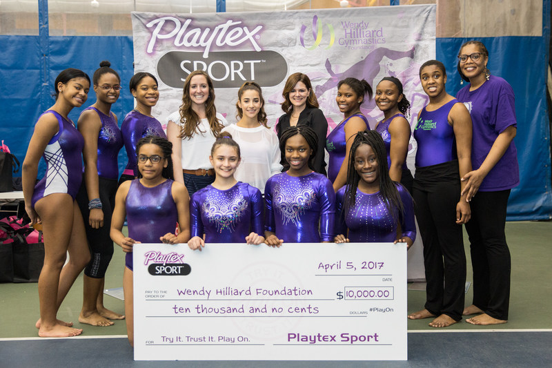 Playtex® Sport® and Try It. Trust It. Play On. spokesperson, Aly Raisman, made a surprise visit to The Wendy Hilliard Gymnastics Foundation to donate $10,000 to keep girls playing, and gaining confidence from, sports.