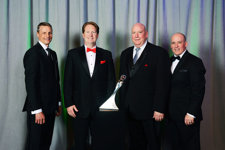 MacLean-Fogg Component Solutions was named a GM Supplier of the Year during the General Motors 25th Annual Supplier of the Year awards ceremony held March 31, 2017 in Orlando, FL. Left to Right: Wade Sheffer, General Motors, Executive Director, Global Chassis Purchasing; Jim Tanner, MacLean-Fogg, Executive Vice President, Business Development; Brian Fitzpatrick, MacLean-Fogg Component Solutions, Key Account Executive; Jim Danahy, General Motors, Global Functional Leader, Chassis Engineering.
