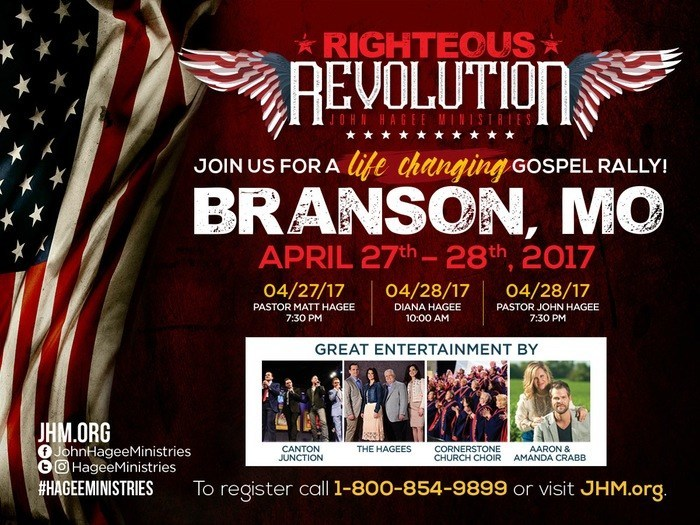 The John Hagee Ministries Righteous Revolution kicks off at 7:30 pm Thursday, April 27th and continues throughout the day on the 28th.