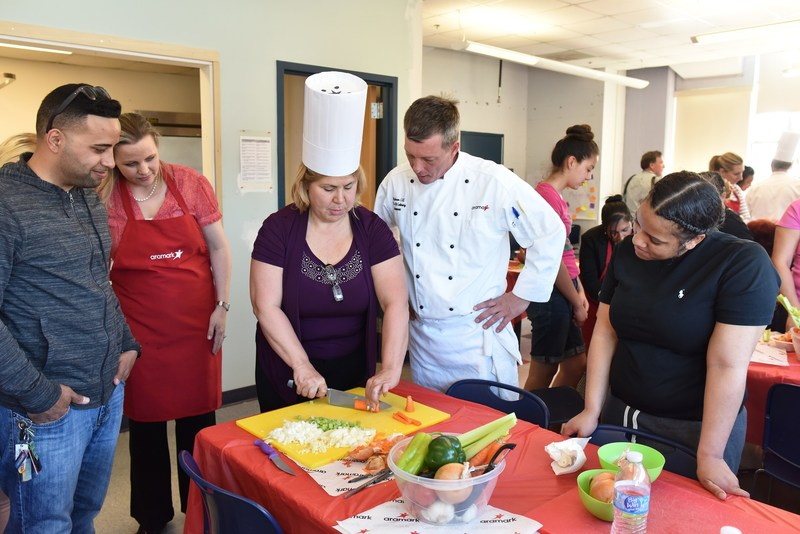 As part of Aramark's Feed Your Potential 365 campaign, chefs and dietitians are working with community centers in disadvantaged neighborhoods across the country to teach members skills to eat healthier.