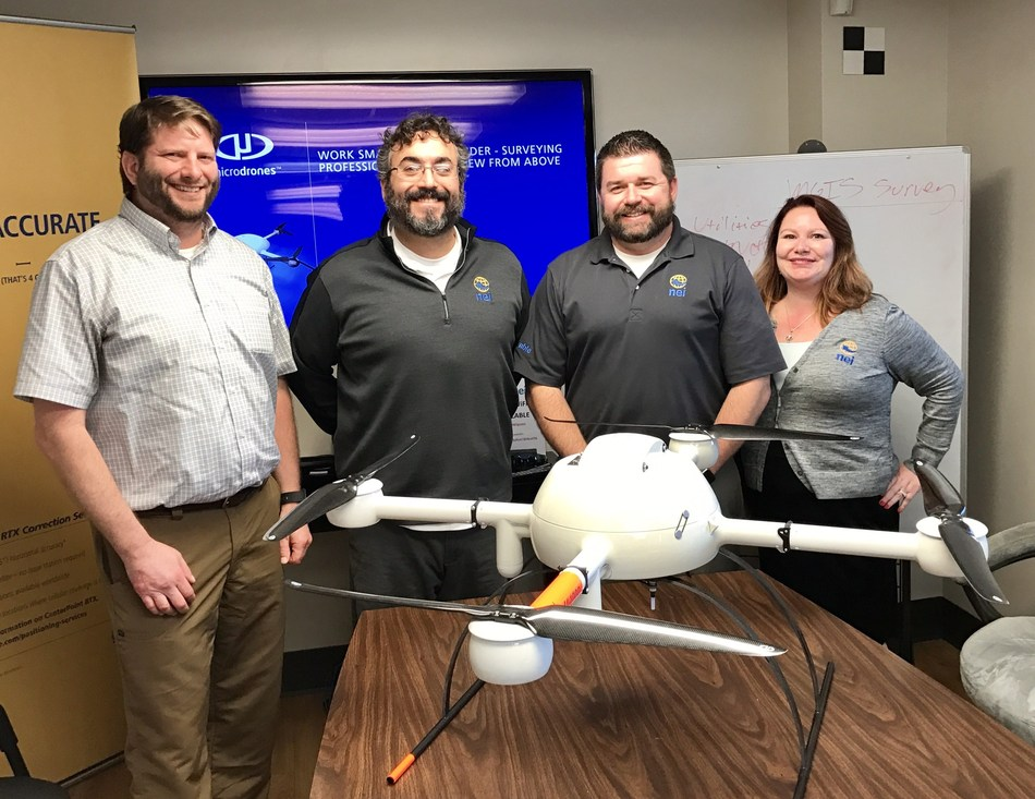 From left to right: ¬Chuck Dorgan, Microdrones Sales Director for North America; William Poche, NEI Owner and Vice President of Sales; Chad Hicks, NEI Imaging Solutions Team Lead; and Angie Swirski, NEI MGIS Sales Manager.