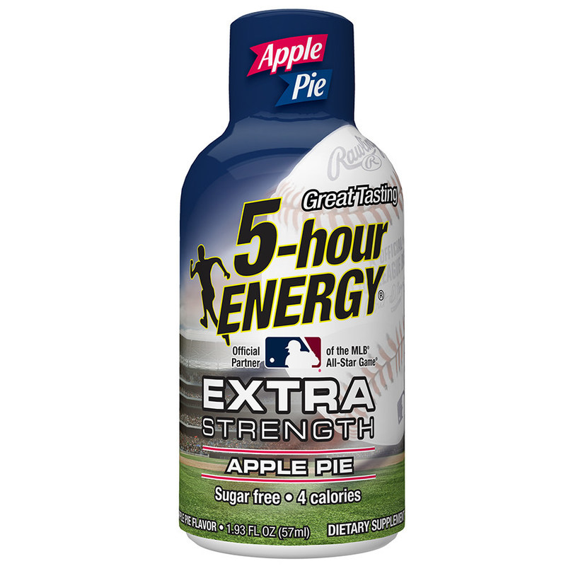 Apple Pie Extra Strength 5-hour ENERGY® features the iconic MLB silhouetted batter logo on the bottle.