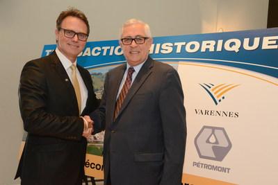 Martin Damphousse, maire de Varennes et Louis A. Rail, président de Pétromont. (Groupe CNW/Ville de Varennes)