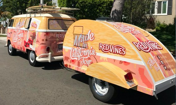 A Red Vines® California-themed Volkswagen Van will be the centerpiece of the tour, from which Red Vines® ambassadors will distribute California Collection® samples, coupons and other promotional items at each tour stop. The Red Vines® California Collection® is an assortment of seven classic licorice pieces, which include Black Licorice Twists, Original Red® Twists, Black Licorice Bites, Original Red® Bites, Super Ropes®, Original Red® Bars, and Superstrings® candy.