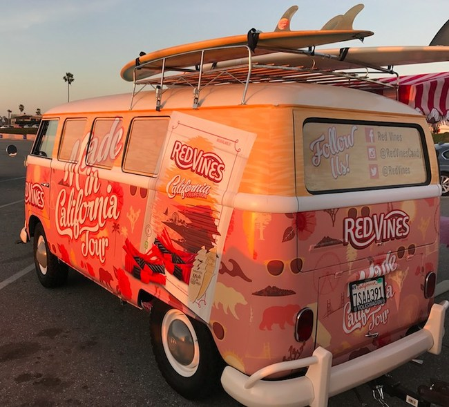 The Red Vines® Made in California Tour will kick off on April 12 in San Francisco and travel down the coast stopping in Capitola, Santa Barbara, Ventura, Al Hambra, Dana Point, Los Angeles, and ending with a three-day experiential display at the Stagecoach Country Music Festival in Indio. A Red Vines® California-themed Volkswagen Van will be the centerpiece of the tour, from which Red Vines® ambassadors will distribute California Collection® samples, coupons and other promotion items at each tour stop.