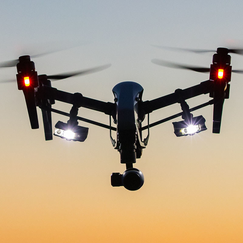 FoxFury Rugo Lights Fly High Attached to a Drone.