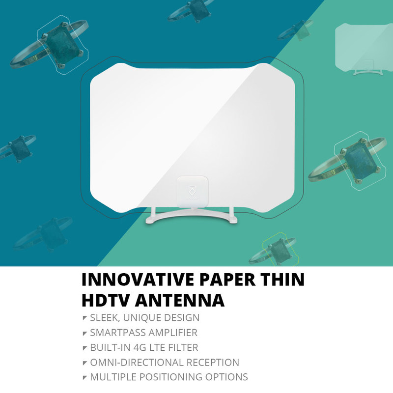 Cut the cord, enjoy free local broadcast TV With the latest In Paper Thin Digital Antenna Tech. The ANTOP AT-133B Paper Thin Indoor Antenna receives free over-the-air local TV broadcasts and combines a sleek design with digital technology to provide a visually appealing product that delivers crystal clear HDTV reception.