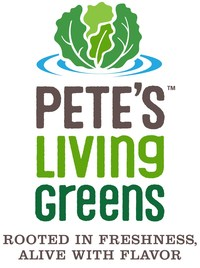 The brand relaunch is complete with a new logo for Pete's Living Greens, which will be prominently displayed on all products.