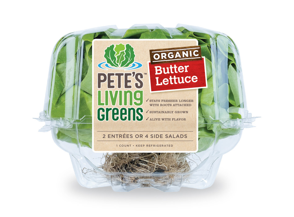 Pete's Living Greens Organic Butter Lettuce in the brand's signature clear clamshell packaging with new label and easily identifiable benefits